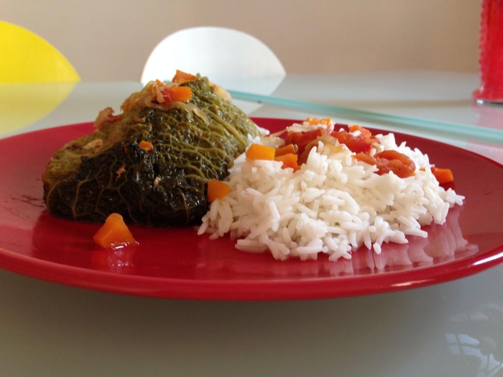 plat paupiette de chou au riz