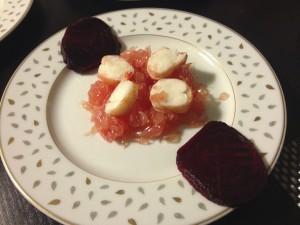 Assiette pamplemousse et crevettes