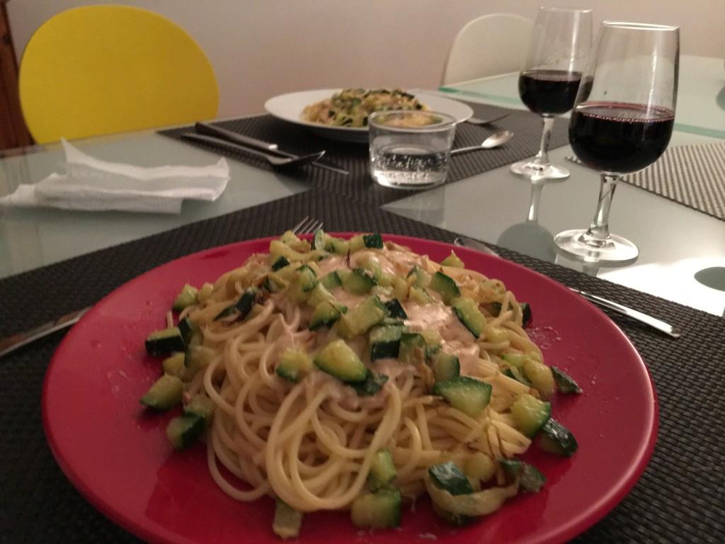 Spaghetti au foie gras et petits légumes