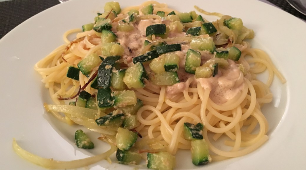 Des spaghetti au foie gras